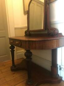 Antique Dressing Table w/ mahogany mirror