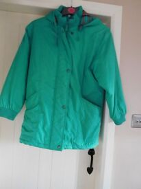 Ladies Small Green Quilted Zip Coat with Hood