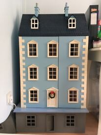 Part Furnished Baby Blue Georgian Doll House
