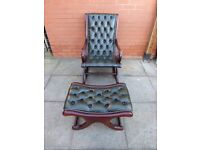Green leather chesterfield rocking chair and a foot stool
