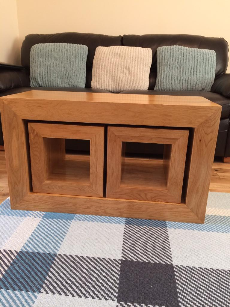 oakdale natural solid oak 3 cube nest of tables coffee. Black Bedroom Furniture Sets. Home Design Ideas
