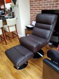 Padded leather effect dark brown chair with matching footstool with circular chrome bases