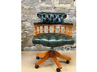 Green Leather Captains Swivel Office Chair