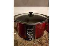 Like New Morphy Richards Large 3.5L Stylish Red Digital Slow Cooker and Slow Cooker Recipe Books