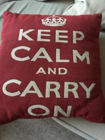 Keep calm and carry on cushion
