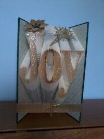 Christmas Joy book sculpture