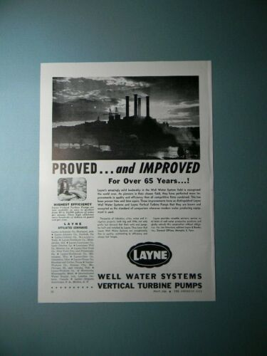 1946 LAYNE WELL WATER SYSTEMS VERTICAL TURBINE PUMPS SALES ART AD