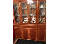 Yew Dinning table 6 chairs display cabinet and small desk