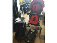 Mothercare roam buggy, car seat and isofix base