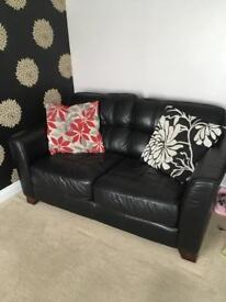 Large Three Seater Real Leather Sofa