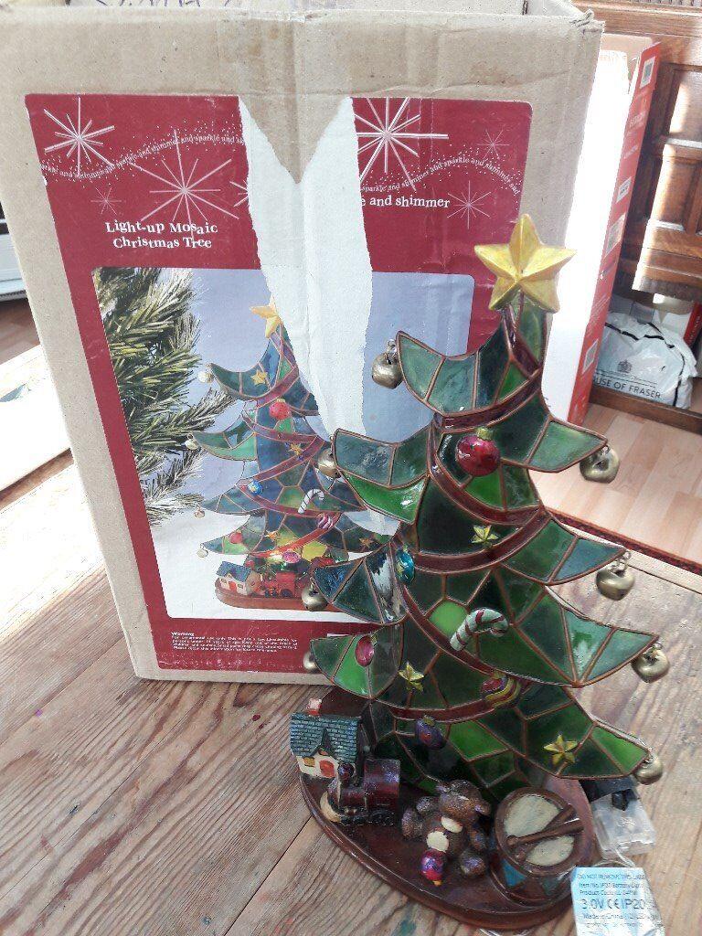 Gl Mosiac Battery Operated Light Up Xmas Tree