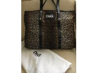 D&G Animal Print Large Canvas Estelle Tote with Black Patent Leather Handles