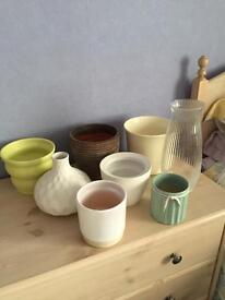 Box Of Plant Pots & Vases (8 Pieces) - PRICE IS FOR ALL