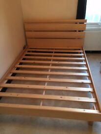 Wooden Double Bed Frame & Mattress