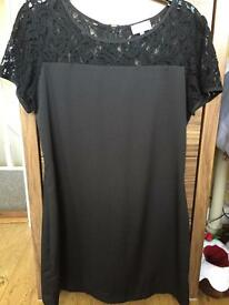 Black silk and lace dress size 14
