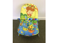 Jungle theme baby bouncer with music and vibration