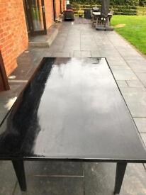 Sprayed black glitter pine dining table