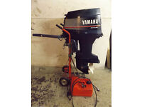 YAMAHA AUTOLUBE 40HP Outboard Boat Engine INC FULE TANK VIDEO OF RUNNING not 4 stroke 2 stroke
