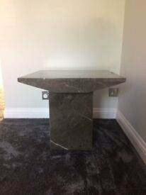 2 matching marble side tables