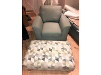 3 Arm Chair and Footstool   Mint Colour   DFS Beau collection  