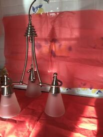Ceiling light fitment - 3 lamp shades - elegant polished metal and glass