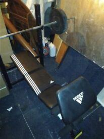 Adjustable Addidas Weights Bench (RRP £179.99) + 20kg weights & bar