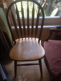 Two solid pine chairs, £20 for the pair