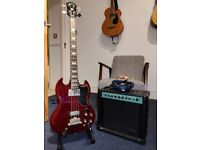 Epiphone EB3 bass guitar + amp + stand
