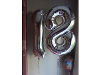 Age 18 (Seperate 1 & 8) Silver Helium Balloons