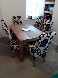 Modern light oak dining table and 6 chairs