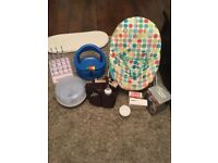 Baby bouncer, bath seat and more
