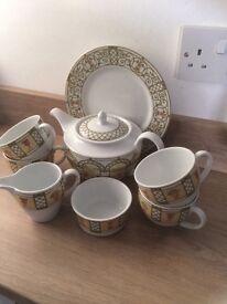WEDGWOOD TEAPOT, teacups,cream and sugar bowl etx