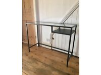 Black Glass Laptop Table / Desk / Console Table