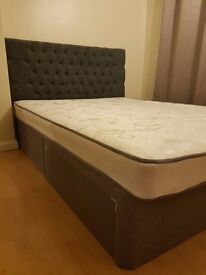 King size divan bed with mattress and headboard