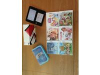 Red 3D DS XL boxed with frozen case and 6 games