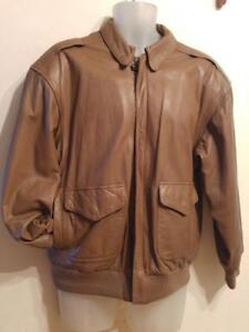 Mens L 42S SHORT Aviator Bomber Jacket Vintage Like new Brown Lovely Leather Pelle