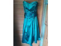 Coast satin green bridesmaid/prom dress, size 12