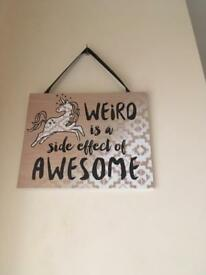 "Wall picture ""Weird is a side effect of awesome"""