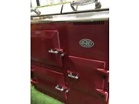 Stunning Everhot Range cooker Burgundy red and chrome electric kitchen appliance