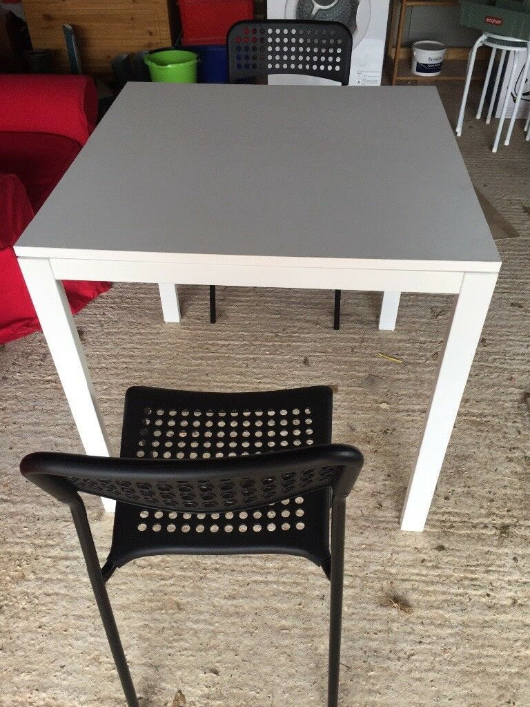 Ikea small white table & 2 chairs 29 inch square & 29 tall ...