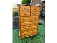Solid pine large chest of drawers. Possible delivery