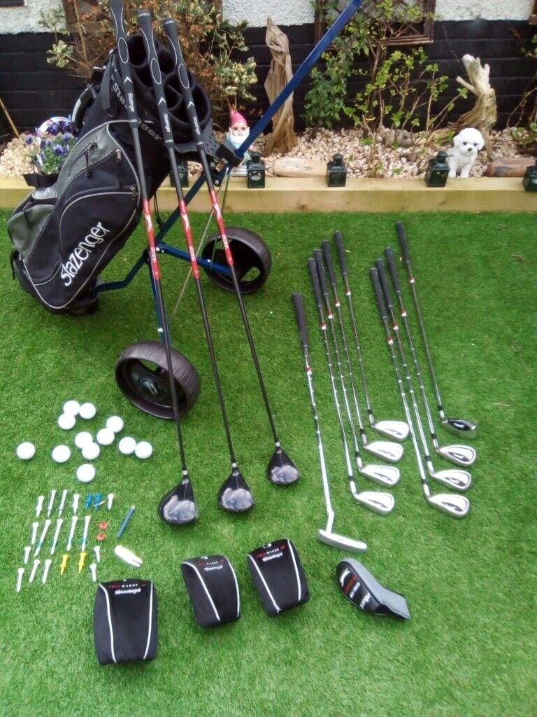 d3dc95a9e90 Full Set Slazenger FIRESTEEL Golf Clubs + Slazenger Golf Bag + Slazenger  Golf Trolley. + Free Extras