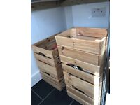Five wooden Ikea boxes sold together or separately