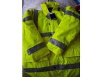 Hi vis waterproof coat. UNUSED NEW