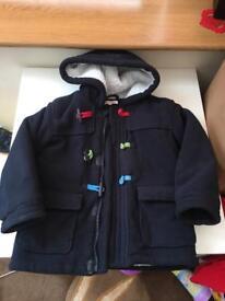 Winter kids coat jacket fleece blue zoo 5-6 years