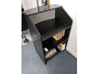 Reception desk (black colour, good condition, 110cm x 70cm x 50cm)