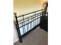 Black King Size Metal Bed Frame with Antique Brass Finials