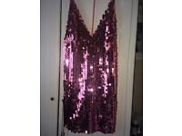 Pink sequin dress, new, size small