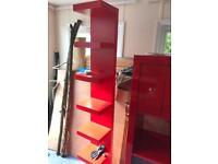 Tall Red storage shelving unit