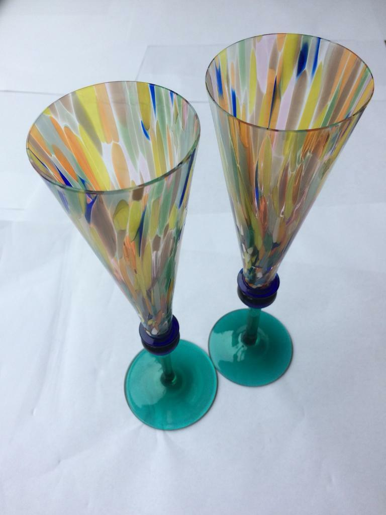 Stunning pair of hand blown stained glass champagne flutes
